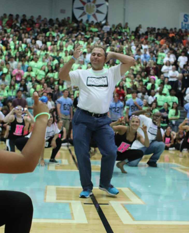 Principal Frasca participating in the staff dance.