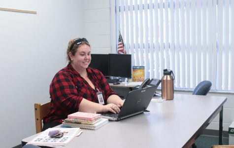 District appointed mental health counselor works out a problem in her office. Palmer is here Mondays and Thursdays.