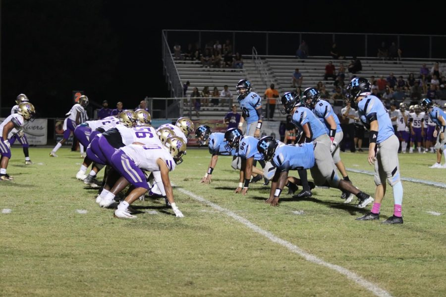 The team lines up their defense to get the ball back from Winter Springs in the final quarter of the game