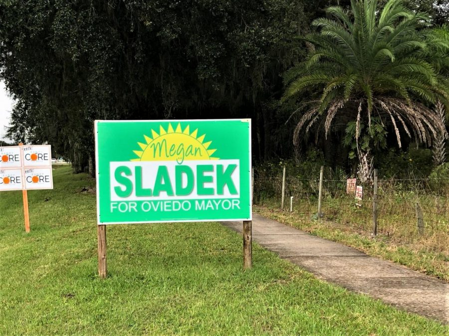 Signs+such+as+candidate+Megan+Sladek%27s+were+found+across+Oviedo+as+a+part+of+the+race+for+mayor.+Sladek+won+the+election+with+44%25+of+the+vote+