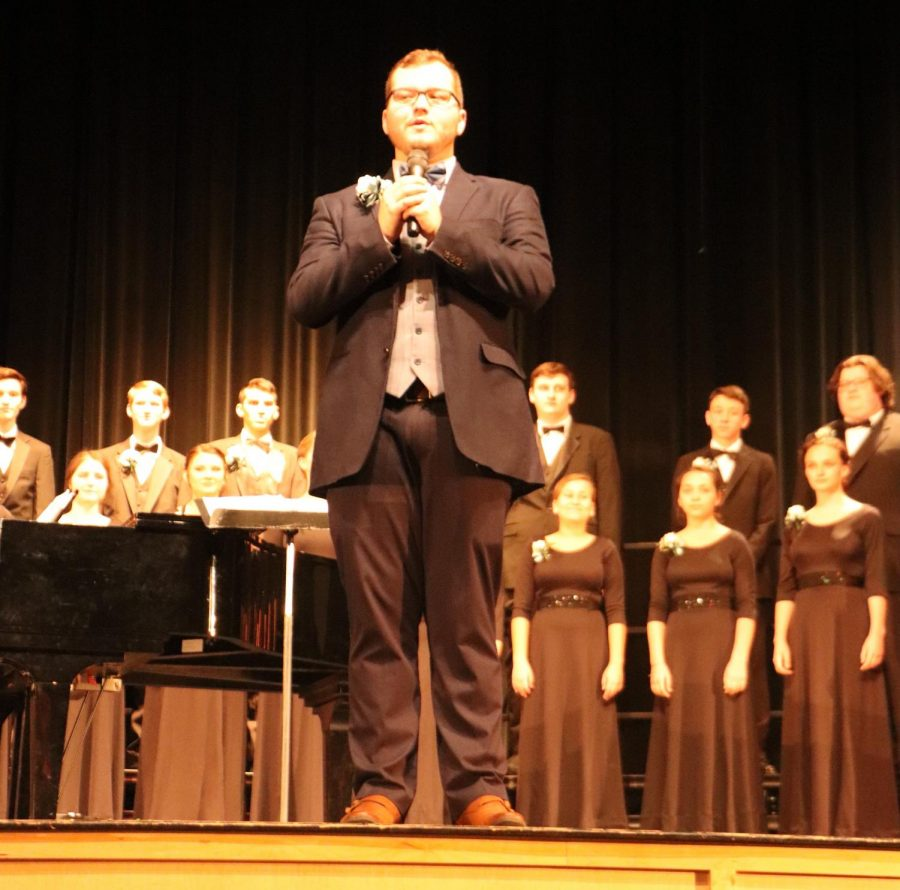 Chorus+teacher+Christopher+Hickey+has+prepared+the+choir+by+leading+their+rehearsals+in+class+and+after+school%2C+leading+up+to+the+show.