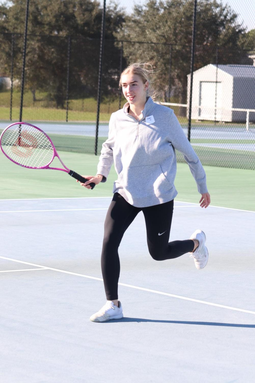Even on the coldest day of the year, (Jan.21) Sophomore Gaby Witherwite is still able to go outside and play tennis.