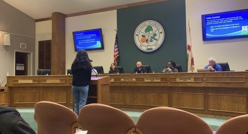 Sophomore Sana Yooseph proposing a new cross walk to the city council.