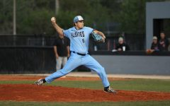 Junior pitcher Trent Caples pitches in a 3-0 win against Oviedo on March 13. The win was the last game any sports team played since COVID-19 shut down schools and sports.