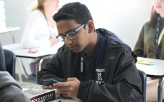 Junior Sahil Shah takes advantage of a brain break in Dali Stires' U.S. History class. Shah is one of over 1,000 Hagerty students preparing to take online AP exams at home that will be very different than what they expected at the beginning of the year.
