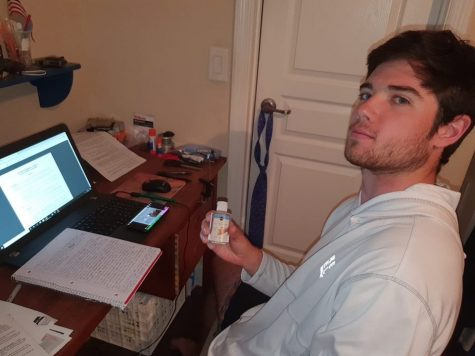 Senior Michael Maxwell being productive on his first day of distance learning.