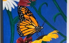 Sophomore Kayley Gilman's finished butterfly painting. Gilman used a canvas and acrylic paints that she had at home.