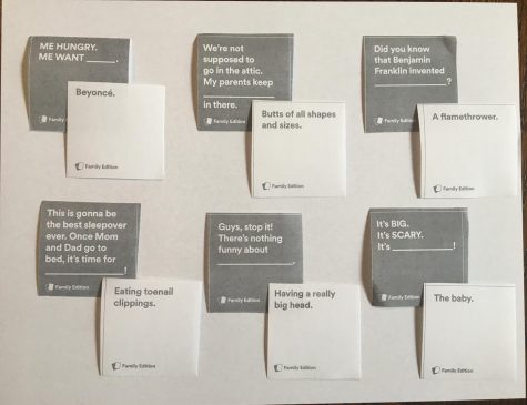 "People can download ""Cards Against Humanity: Family Edition"" in two different size PDFs for free. One is a 21-page PDF with small square cards and the other is a 47-page PDF with larger rectangular cards."