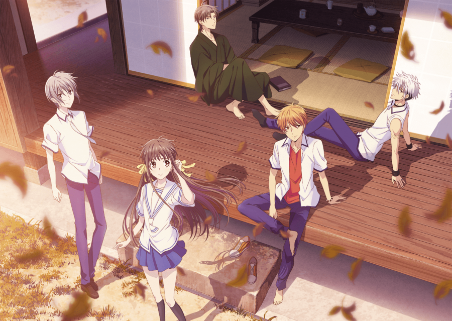 "Tohru, Yuki, Kyo, Shigure, and Haru are main characters of ""Fruits Basket"". The main setting of the story is featured."