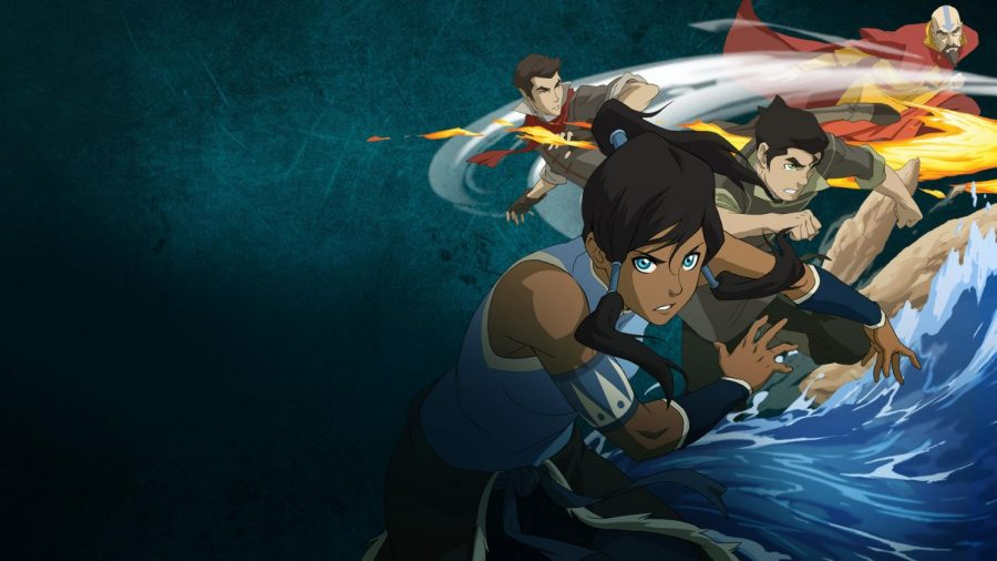 Korra+along+with+the+original+members+of+her+team%2C+Bolin+and+Mako+are+featured+with+their+respective+bending+abilities.+Tenzin%2C+the+son+of+Avatar+Aang+is+also+shown.