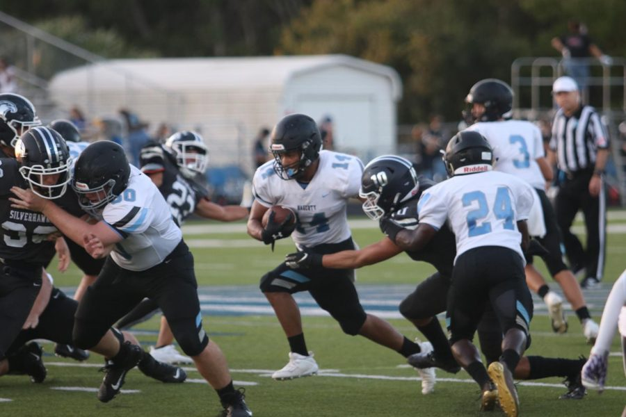 Running back Senior Ethan Lopez is running the ball. Hagerty lost 44-3 to winter park on Friday Oct. 2