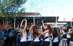The cheerleading and dance teams engage students with chants. This was a tradition carried on from past pep rallies.