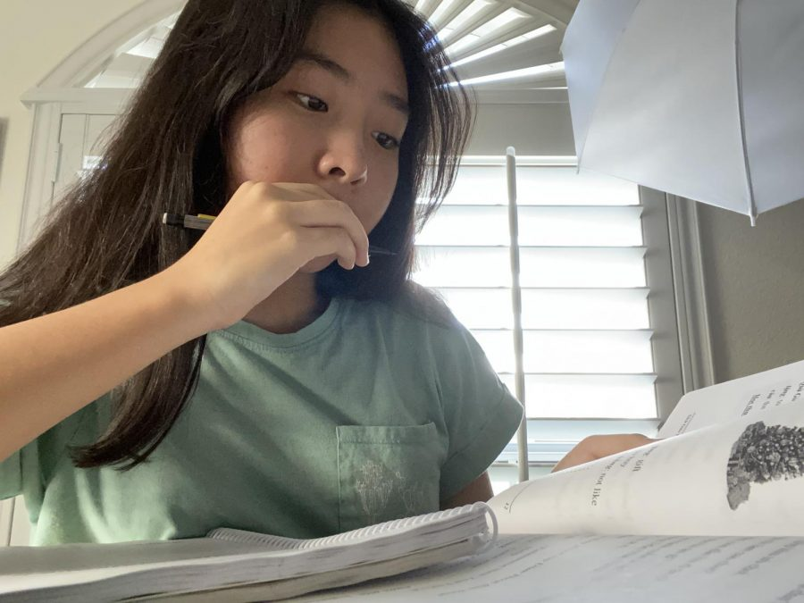 Sophomore Kathlynn Nguyen writes down notes from her Vietnamese language book. She attends a virtual language school every Saturday.