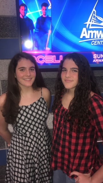 Brooke (right) and Haley (left) White attend a Michael Bublé concert at the Amway Center.