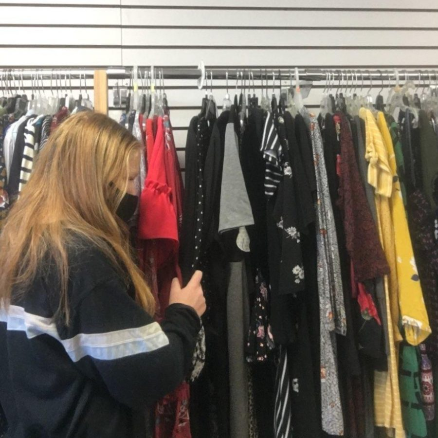 Sophomore+Abigail+Miller+shops+a+Sweet+Repeats%2C+a+local+Oviedo+thrift+store.++Thrifting+is+often+less+expensive+and+more+sustainable+than+buying+from+mainstream+companies.+