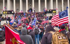 Protesters gather at the steps of the capitol while others looted the inside.