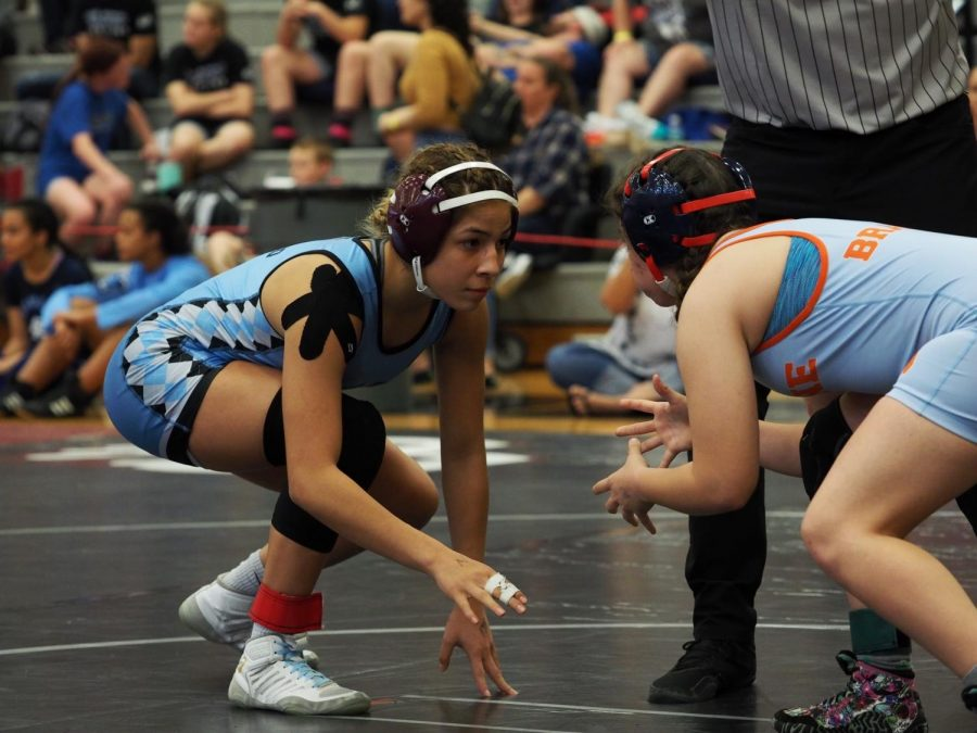 Llamido's match just started. She is looking to set up a shot. Llamido won this match by pin, and was the champion of her weight class in the Bear Claw Tournament in 2020.