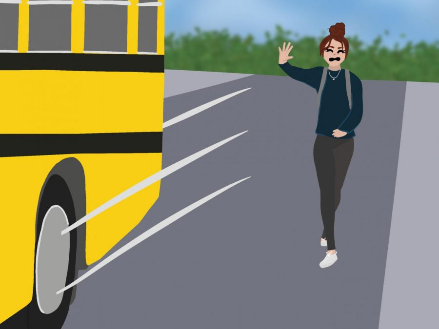 A+student+runs+after+the+bus.+The+studnet+woke+up+late+and+missed+her+ride+to+school.+Digital+drawing.+