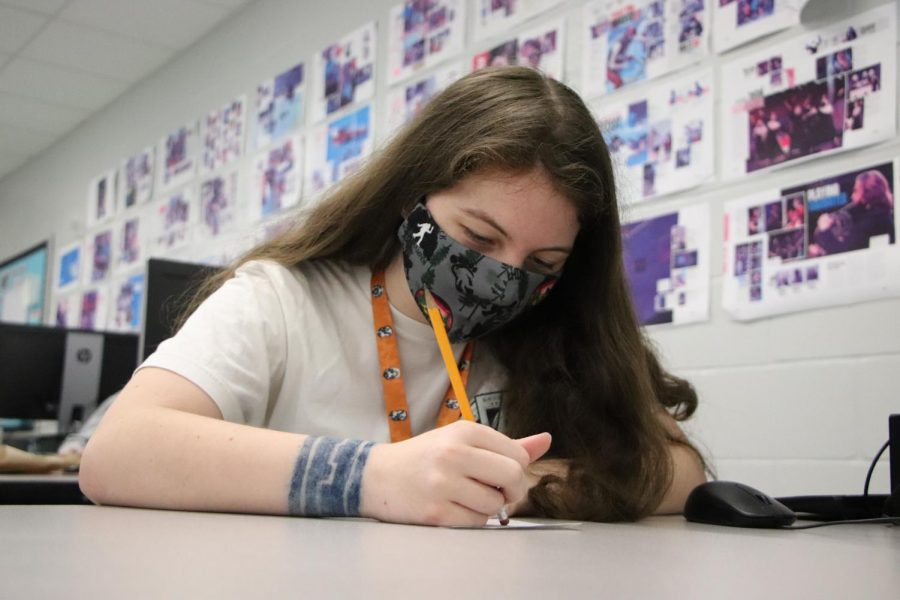 Sophomore Emily Patterson takes a practice test in preparation for an exam.