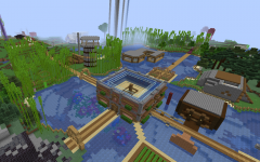 This screenshot from the Dream SMP server features the central structure of the Community House, prior to its destruction and the connecting Prime paths.