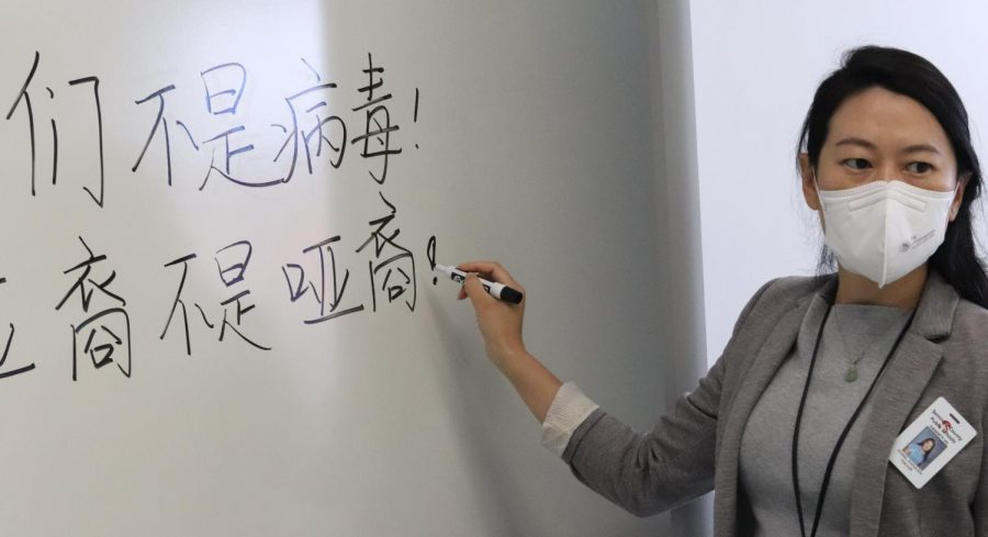 Chinese+teacher+Mrs.+Zhang+teaches+both+Mandarin+and+Chinese+culture+to+students.+Zhang+also+sponsors+the+Asian+Culture+Club%2C+in+which+they+discussed+the+recent+attacks+on+the+Asian-American+community.