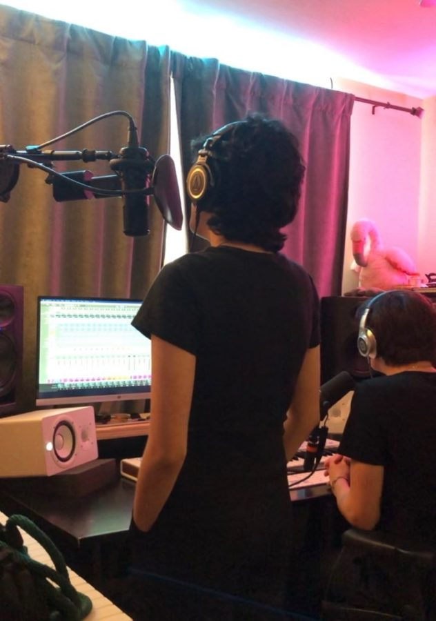 Senior Ash Wise recording vocals for her featured song Forever.