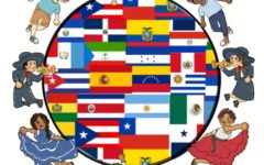 Illustration showing all Hispanic countries as well las the American Flag demonstarting the celebration of Hispanic Heritage Month.
