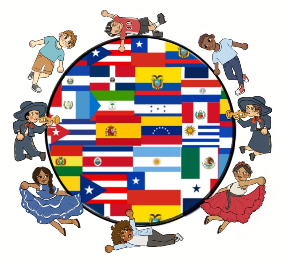 Illustration+showing+all+Hispanic+countries+as+well+las+the+American+Flag+demonstarting+the+celebration+of+Hispanic+Heritage+Month.+