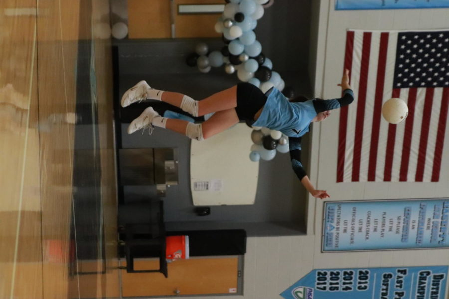 Outside Hitter Brooke Stephens is spiking the ball. Photo from October 7, 2020.