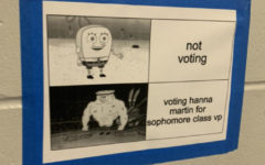 One of the many posters Hannah Martin, who ran for vice president, posted around the school. Candidates for student government put posters throughout the school to get their name out there for votes.
