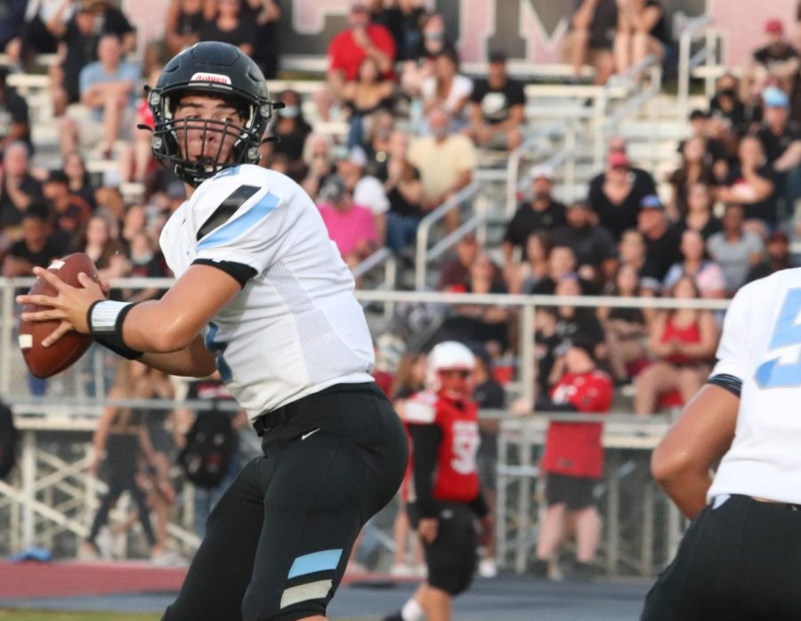 Quarterback Anthony Benzija throws to defensive end Colin Schaefer in the third quarter of the East River game. Hagerty took home the win, 20-14.