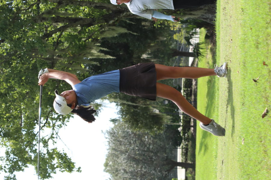 Chelsea Nguyen finishes her swing. The team lost the match against Lake Brantley.